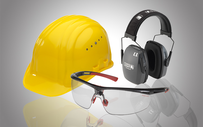 Kopf-, Gehör- und Augenschutz
