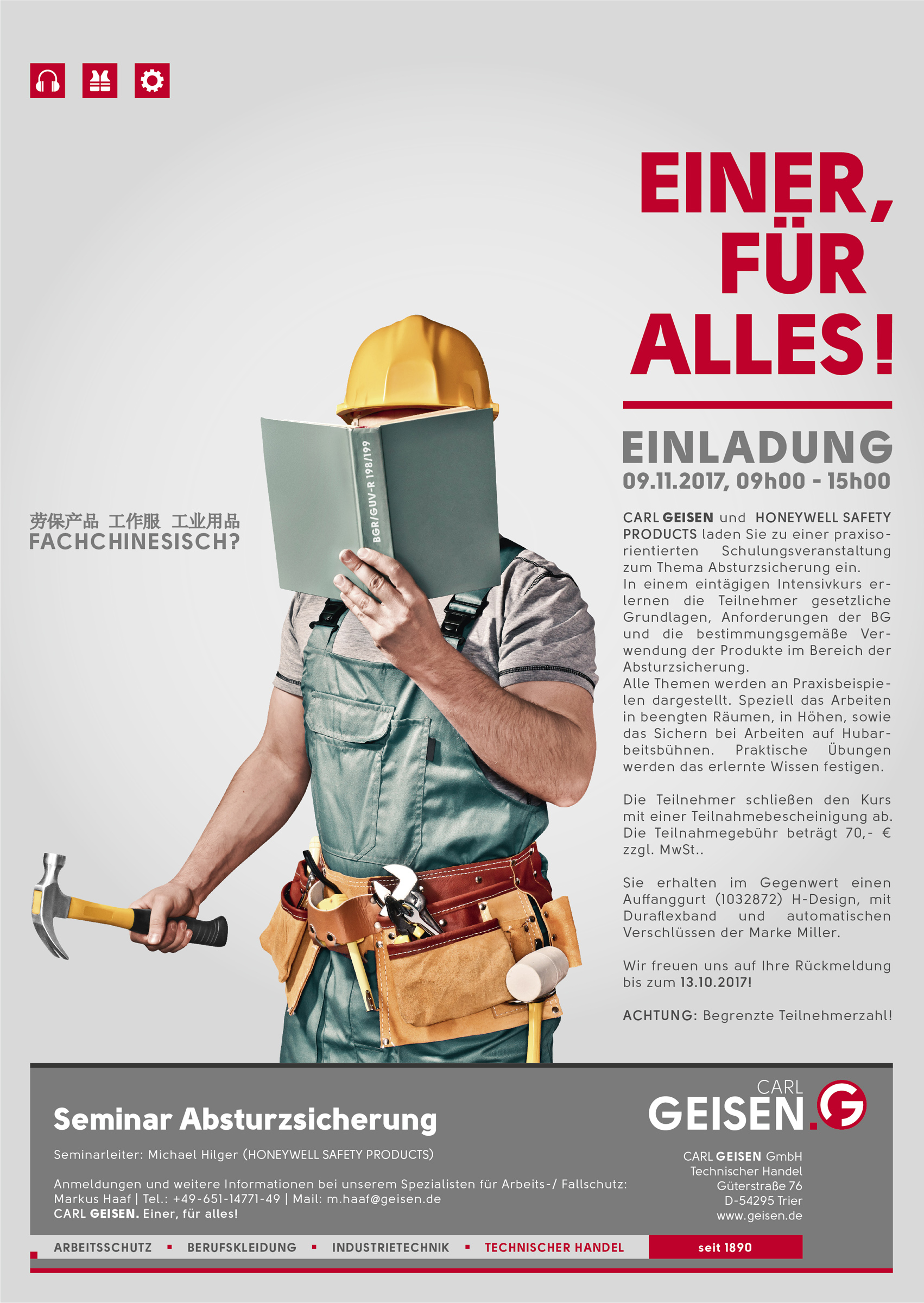 Len Für Hohe Räume seminar zum thema absturzsicherung mit honeywell safety products im